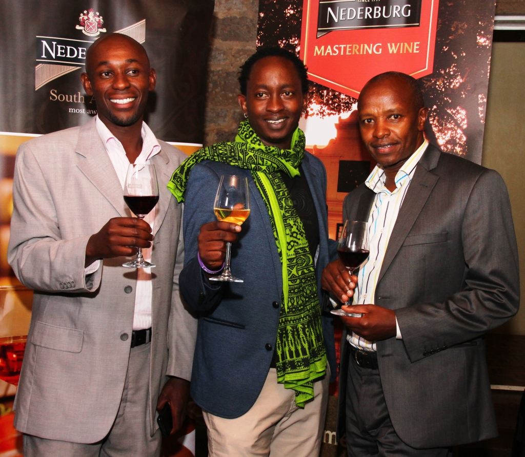 Paul Kanyeki (Sale Manager for Distell winemasters Limited and Eric Wainaina (Nederburg Wines Brand Ambassador) and James Wahome (GM for Distell Winemasters Limited)